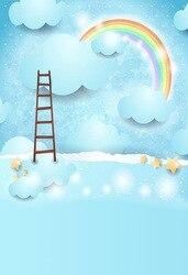 8X15FT Vinyl photography backdrop cartoon sky rainbow clouds newborn children Backdrop Background for photo studio