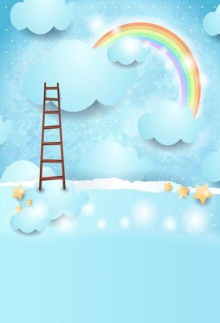 8X15FT vinyle photographie toile de fond dessin animé ciel arc-en-ciel nuages nouveau-né enfants toile de fond fond pour studio de photo