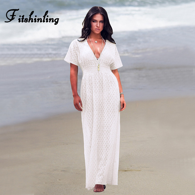 3622a174d Fitshinling Deep V Neck White Lace Dresses Women 2019 Boho Sexy Hot Empire  Long Pareos Holiday