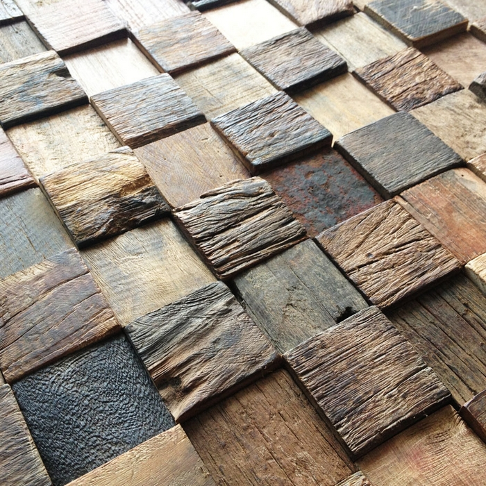 Chess Borad Pattern 3d Rustic Log Old Wood Mosaic Tile