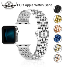 цена на Stainless Steel Strap for Apple Watch Band 38mm 42mm 7 Links Bracelet Smart Watch Strap for Apple Watch Series 1 2 3 4 40mm 44mm