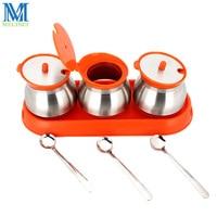 304 Stainless Steel Spice Jar With Spoon Glass Seasoning Bottle Condiment Storage Castor Salt Sugar Pot