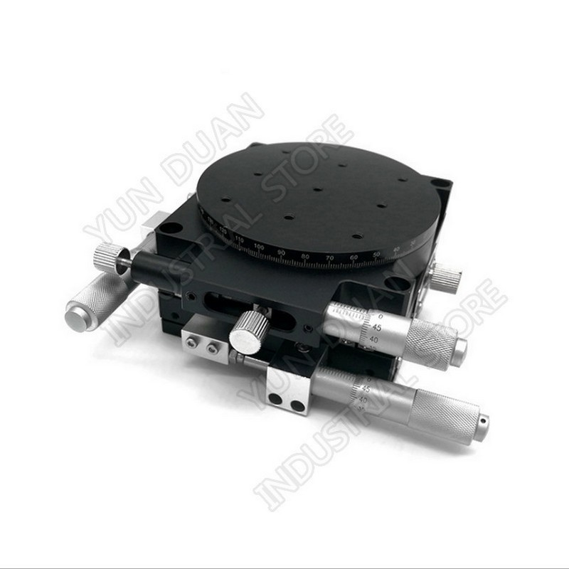 """XYR 3 Axis 90MM 3.5"""" Manual trimming platform Parallel Movement and 360 degree Angle Rotary Tuning sliding table Micrometer"""