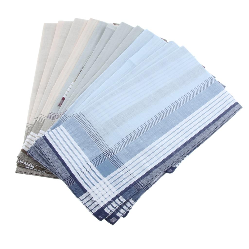 12 Pieces Men's Pure Cotton Plaid Handkerchiefs Wedding Party Pocket Square Hanky Gifts 40x40 Cm
