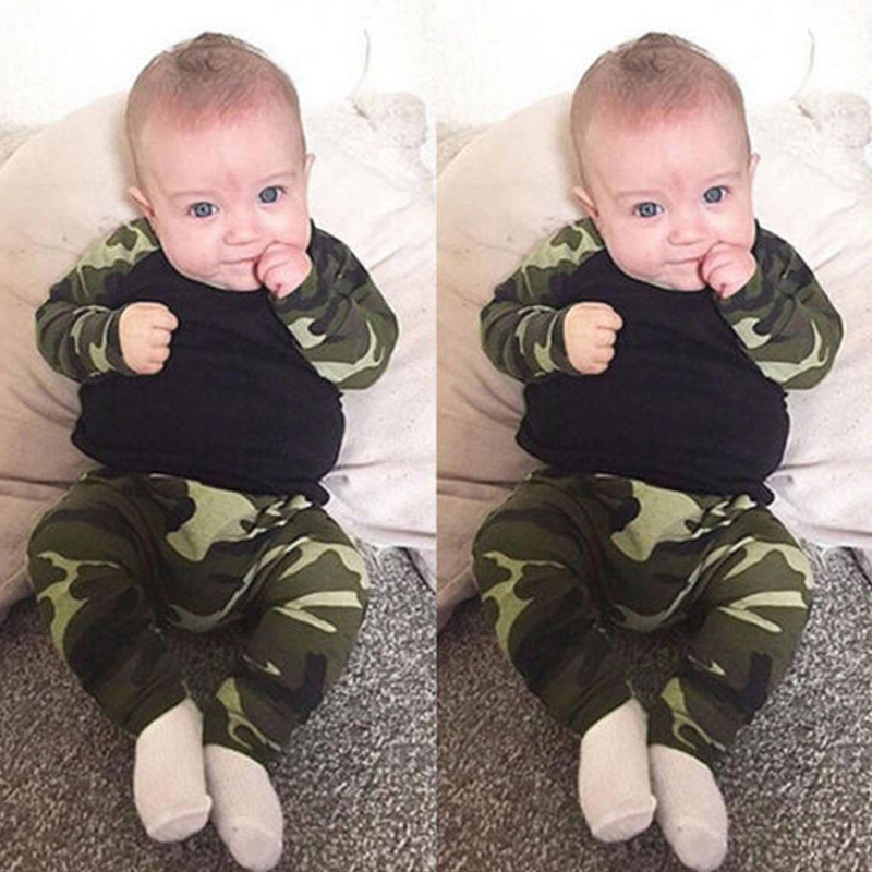 HOT 2pcs Newborn Kids Baby Boys Camo Army T-Shirt Tops+Pants Outfits Set Causal
