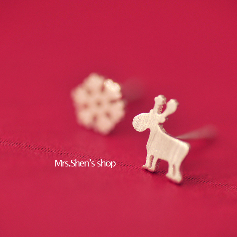 925 Sterling Silver Earrings For Women Christmas Style Snowflake Deer Stud Earrings Girl Fashion Jewelry Gift