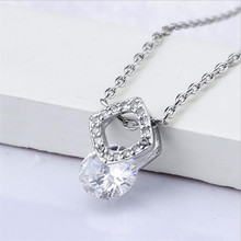 Everoyal Trendy 925 Sterling Silver Necklace For Women Accessories Charm Crystal Square Girls Clavicle Necklace Female Jewelry everoyal lady charm crystal flower pendant necklace for women jewelry trendy silver 925 clavicle necklace female accessories hot
