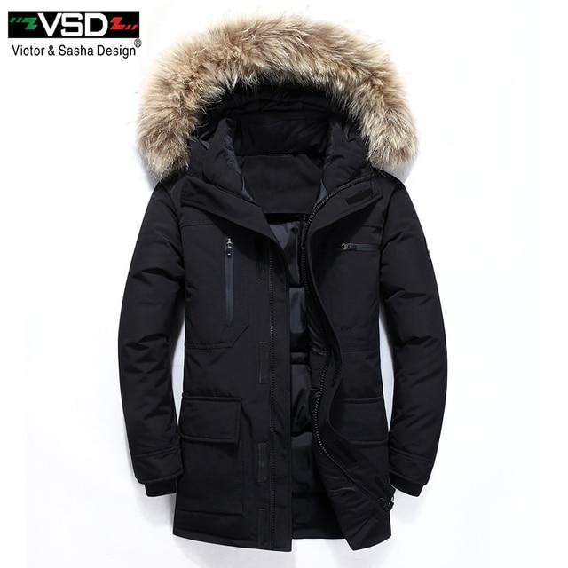VSD Новые Теплые Зимние утка вниз куртка Slim для человека с капюшоном Куртка с воротником Для мужчин парки Winterjas Heren Daunenjacke ветровка VSD909