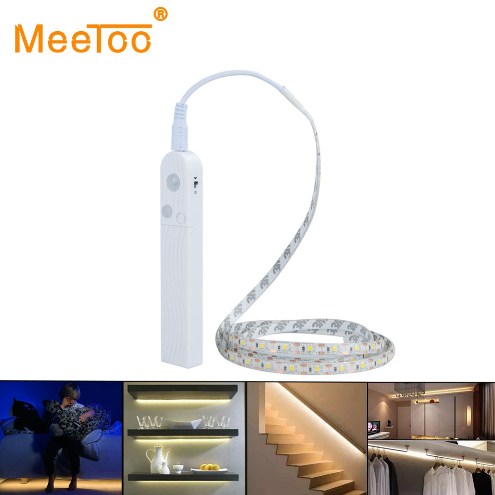 pir motion sensor activated led strip night light flexible battery operated automatic kit for. Black Bedroom Furniture Sets. Home Design Ideas