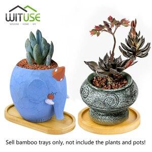 Image 4 - Natural bambu redondo quadrado tigelas placas para suculentas cerâmicas vasos de flores bandejas base jardim decoração para casa artesanato