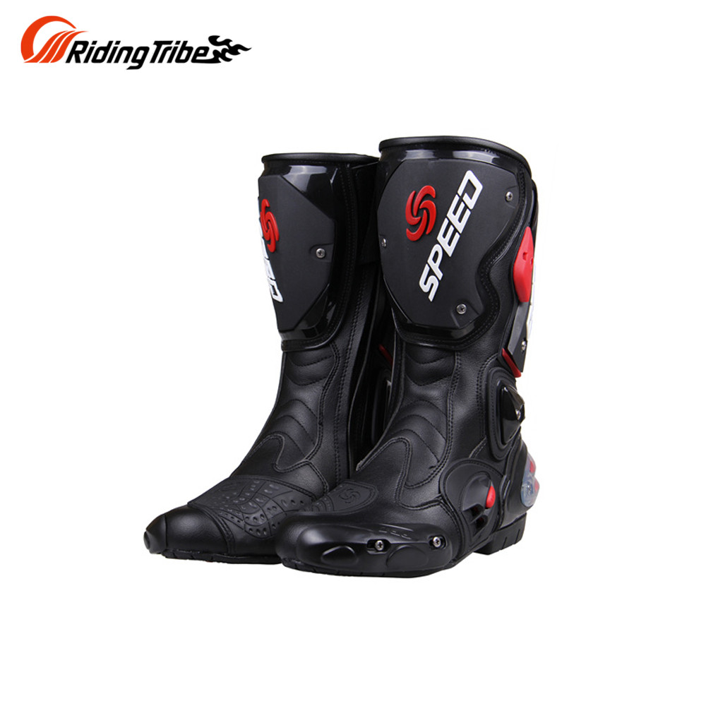 Riding Tribe professional Racing Motocross Boots men s High cylinder boots fashion leather motorcycle boots BLACK