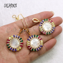 Rainbow color Round zircon pendant white shell charms Necklace jewelry pendant necklace Round metal gift for lady 5511 rhinestone metal round gemini pendant necklace