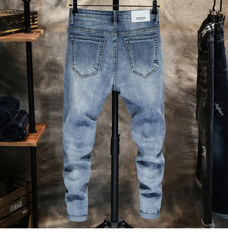 KSTUN Good Quality Jeans for Men SKinny Cotton Solid Sky Blue Fashion Streetwear Denim Pants Men's Clothing Long Trousers Jean Hombre 12