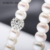 2015 Fashion Necklace Pearl Jewelry 8 9mm Natural Pearls Crystal Ball 925 Sterling Silver Jewelry Pendants