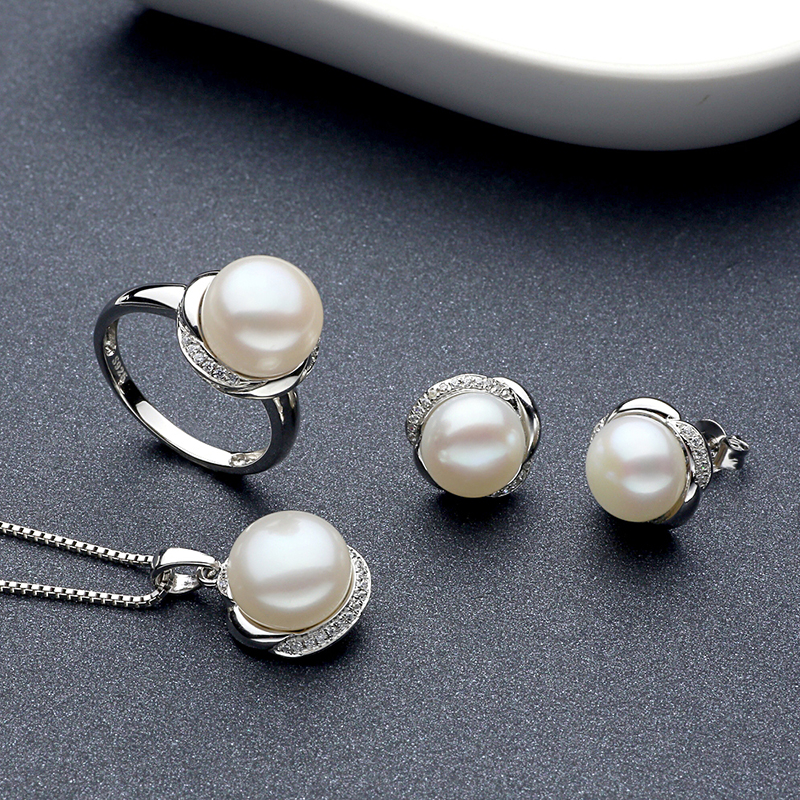 Sinya Fine jewelry set include Ring Earring and Necklace in 925 Sterling silver with natural pearl diameter 10-11mm for women