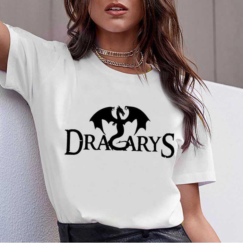 Dracarys Футболка женская даенерис дрогон огонь печатных футболка Harajuku летняя мама даргон футболка новая Ария Старк футболки женские