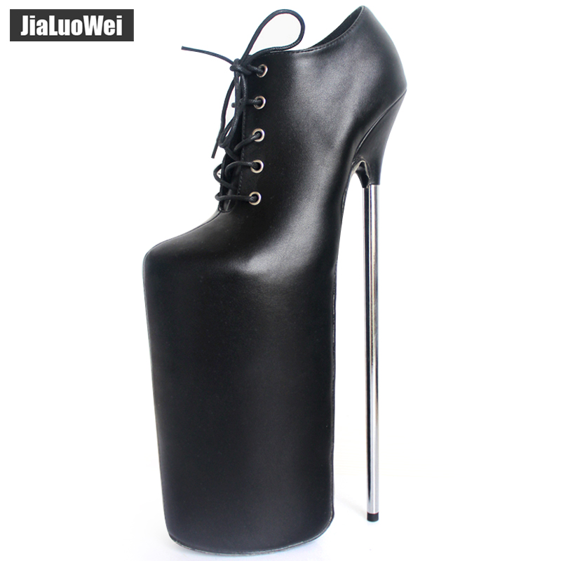 jialuowei New 30CM Super High Metal Thin Heel Platform Lace-up Leather Women Sexy Fetish Nightclub Funny Shoes Ladies Boots jialuowei women sexy fashion shoes lace up knee high thin high heel platform thigh high boots pointed stiletto zip leather boots