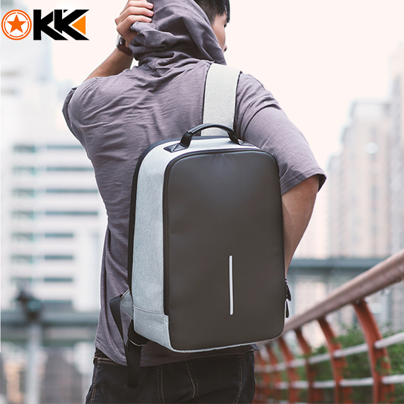 KAKA Solid Anti theft Designer 15 6 Laptop Backpack USB Charge Waterproof Backpack Men Business Schoolbag