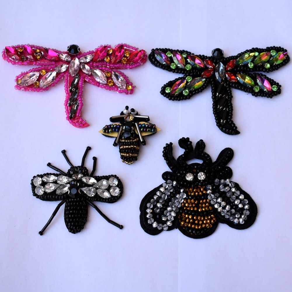 DIY חרוזים דבורה אפליקציות בעבודת יד חרוזים שפירית אפליקצית דבורה תיקוני ריינסטון רקמת Applique לתפור על דבורה תיקון