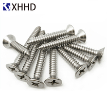 M3 M4 M5 Phillips Flat Head Self Tapping Screw Metric Thread Cross Recessed Self-Tapping Countersunk Bolt 304 Stainless Steel m3 304 stainless steel phillips pan washer head self tapping screw