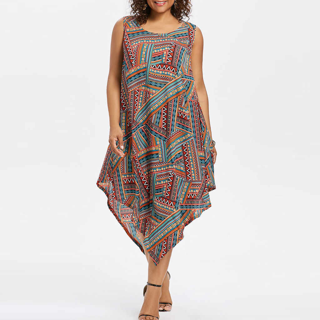 Summer Women's large size round neck color national style print sleeveless loose fashion casual irregular dress платье 41*