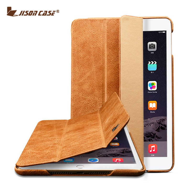 Prix pour Jisoncase En Cuir Vintage Pour iPad Mini 1 2 3 Case pliant folio Intelligente réveil Sommeil Marque De Luxe la Couverture