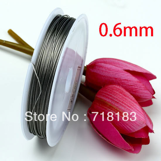 Wholesale 1 Roll 50M Silver Tone Beading Wire 0.6mm for Bracelet/ Necklace Rope ...