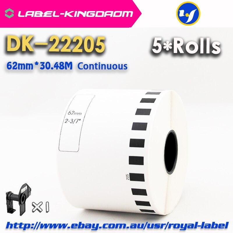5 Refill Rolls Kompatibel Dk-22205 Label 62mm * 30,48 M Kontinuierliche Kompatibel Für Brother Label Drucker Weiß Papier Dk22205