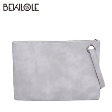 BEKILOLE PU Leather Luxury Retro Handbags Envelope Evening Bag Designer Long Purses Wallet Women Wristlet Clutch