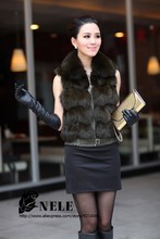 Genuine real natural fox fur vest women short luxury  coat winter jacket plus size custom size on sell Free shipping