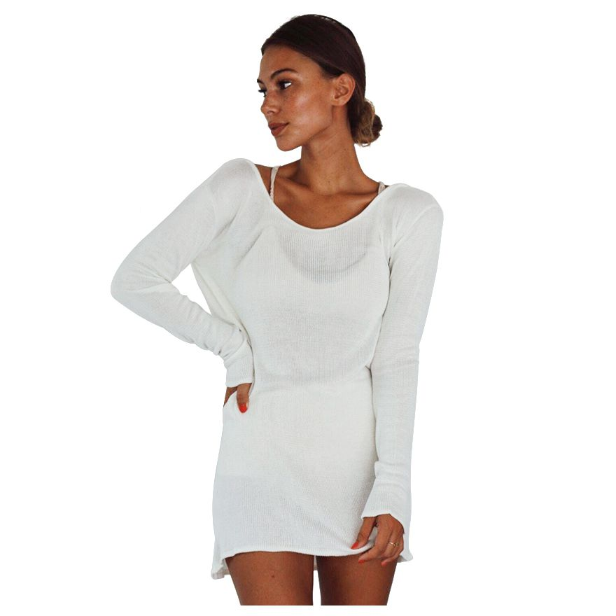 Women Summer Autumn Sexy Sweater Dress Women Solid White O-neck Long Sleeve Backless Mini Dresses Knitted Dresses