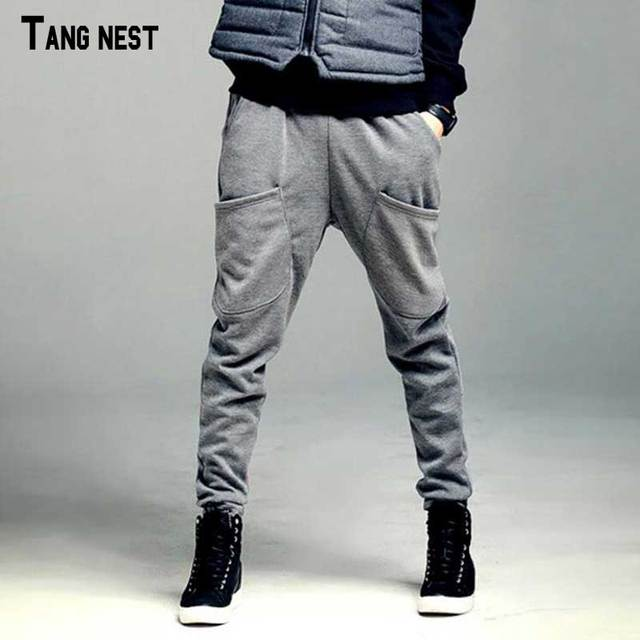 TANGNEST Men Harem Pants 2017 New Casual Men's Elastic Waist Pants Full Length Solid Fleece Harem Pants Warm For Winter MKX1056