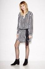 EQ 100% silk black white striped ribbon belt long sleeve lady blouses type dress women kate moss soie long shirt