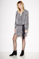 EQ 100 Silk Black White Striped Ribbon Belt Long Sleeve Lady Blouses Type Dress Women Kate