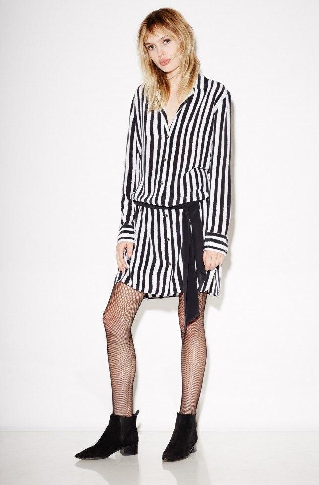 Eq 100 Sutra Hitam Putih Striped Ribbon Belt Panjang Lengan Lady