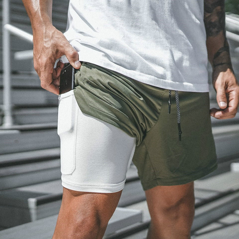 Plusign Quick-Dry Men's Sports Shorts Secure Liner Pocket Fit 2 In 1 Shorts Fashionable Elastic Waist Outdoor Activity Wear