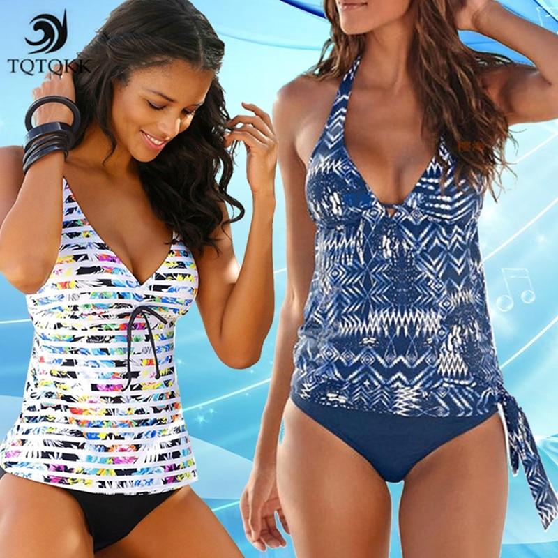 2019 Sexy Women Swimwear Backless Bikinis Push Up Tankini Swimsuit High Waist Halter Deep V Beach