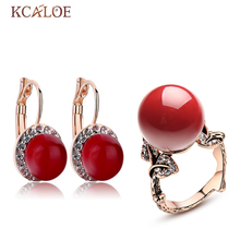 KCALOE Red Coral Earring Bridal Jewelry Sets Luxury Crystal Cubic Zirconia Rose Gold Color Vintage Carved Ring Jewelry Set