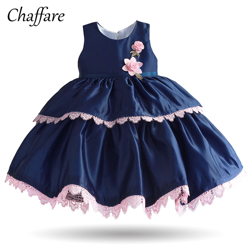 Chaffare Princess Girls Lace Dress 2018 Summer Baby Floral Frock Children Applique Fashion Clothing Kids Party Dresses 1-6 Years mottelee girls princess dress blue kids party tutu dresses birthday summer baby outfits floral toddler frock children clothing