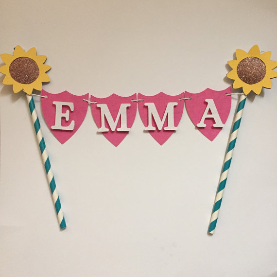 sunflower cake bunting banners custom name birthday cake decor kids