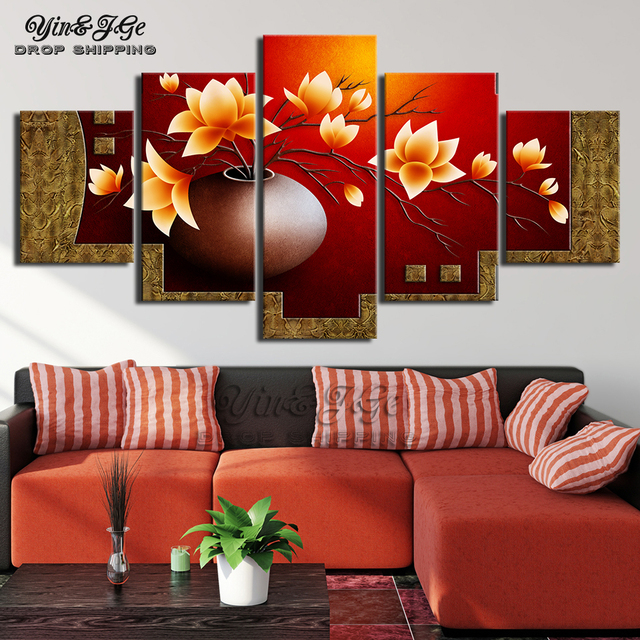 Wall Art HD Prints Home Decor 5 Pieces  Flower Canvas Painting Modular Bedside Background Pictures Frame Artwork Abstract Poster