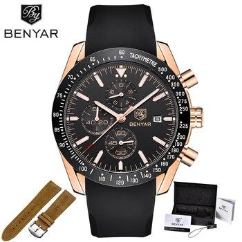 BENYAR Men Watches Brand Luxury Silicone&Steel Band Wristwatches Man Leather Chronograph Quartz Military Watch Relogio Masculino