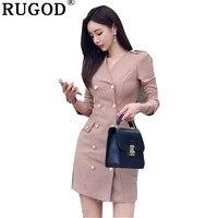 RUGOD New Fashion Women Dress Notched Solid Casual Formal Mini Dress 2019 Spring Dress Elegant Women Dress vestidos de fiesta
