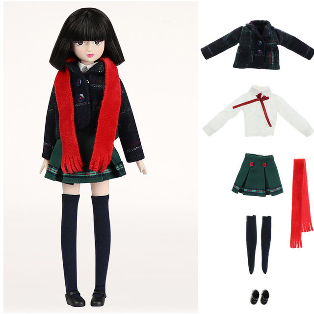 ICY Blyth doll New xiaojing doll student series joint body bjd black hair including school uniform shoes 25cm 5