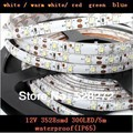 LED light Cool White / Warm White / Red / Green / Blue  5M 300LED 24W 12V Waterproof 3528SMD LED Strip, 60LEDS / m Free shipping