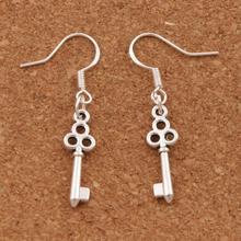 925 Silver Hook Flower Slim Key Earrings Fish Ear 50pairs Antique Chandelier E881 6.5x39 mm