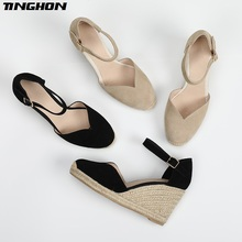 цена TINGHON Summer Women wedge sandals 9CM and 6.5CM heel height Wedges shoe women Buckle Strap V style Shoes в интернет-магазинах