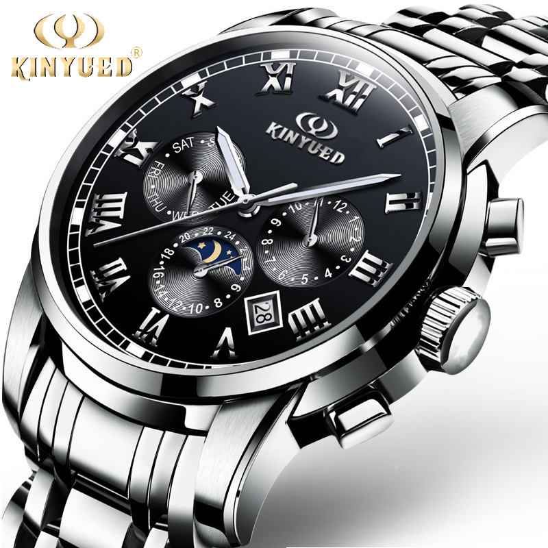 KINYUED Watch Men Automatic Mechanical Mens Watches Stainless Steel Waterproof Moon Phase Multifunction montre homme Clock цена