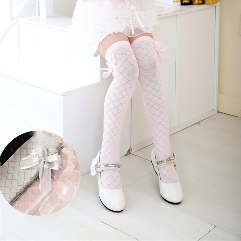 2017 Girls Tights Spring Sweet Cotton Girl Tights Princess Bow Lace Pantyhose Knee High Stocking For 3-8 years sweet years sy 6282l 07