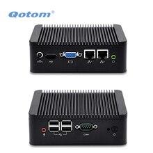 QOTOM Dual LAN мини-ПК с core i3-3217U/Celeron 1037u процессор Onboard, Dual Core 1.8 ГГц, двойной dislplay мини-ПК с RS232